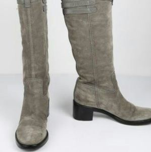 GUCCI Grey Suede Knee High Boots